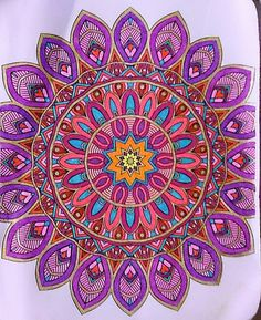 Mandala,colored with gel pens and sharpie,by Judy Soto