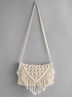 Shop Crochet Hollow Out Tassel Bag online. SheIn offers Crochet Hollow Out Tasse. - Shop Crochet Hollow Out Tassel Bag online. SheIn offers Crochet Hollow Out Tassel Bag & more to fit your fashionable needs. Source by - Diy Macrame Wall Hanging, Macrame Art, Macrame Projects, Macrame Knots, Crochet Projects, Macrame Mirror, Macrame Purse, Macrame Dress, Macrame Curtain