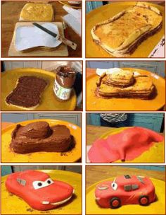 Ma maison - Femmes Débordées Lightening Mcqueen Birthday Cake, Lightning Mcqueen Cake, Fancy Cakes, Cute Cakes, Gateau Flash Mcqueen, Dinosaur Birthday Cakes, Gravity Cake, Galaxy Cake, Kolaci I Torte
