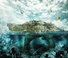 fantasy landscape: Huge turtle in ocean overgrown forests and mountains to the village and the castle in the shell floats like an island