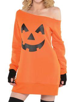 Womens Pumpkin Off the Shoulder Tunic - FOREVER HALLOWEEN