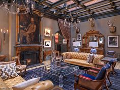 Delightful decor: Hotel Jerome in Aspen was renovated in 2012, with the refit overseen by renowned US interior designer Todd Avery Lenahan. He succeeded in making the Jerome utterly luxurious, but quirky and interesting, too. Pictured is the striking lobby area