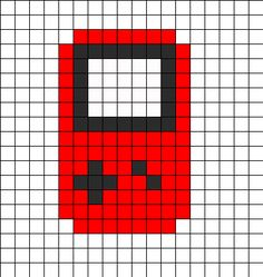Game Boy Red Perler Bead Pattern | Bead Sprites | Misc Fuse Bead Patterns
