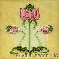 sunny yellow floral art nouveau tile