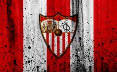 Download wallpapers Sevilla, 4k, grunge, La Liga, stone texture, soccer, football club, LaLiga, Sevilla FC