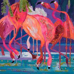 """Linda Hendrickson, Mixed Media """"Pink Platitudes""""  flamingos feeding to get their colors on."""