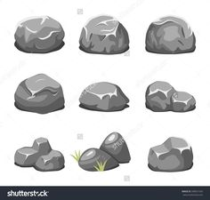Stones and rocks in cartoon style. Boulder natural. Vector illustration