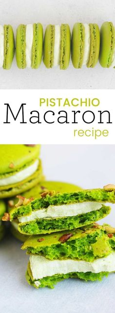 Pistachio macarons with Pistachio buttercream are easily my most favorite macaron flavor. They are classic, rich, and rather pretty to look at. Use the Swiss Meringue Buttercream included or a pistachio nut butter to fill. #macarons #dessert #pistachiomacarons