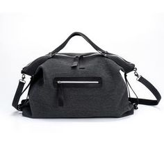 Dark Grey Tote Shoulder Bag Weekend Leather Bag