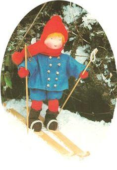 ollie on ski Vs, Waldorf Toys, Child Doll, Felt Diy, Doll Crafts, Felting, Fairies, Smurfs, January