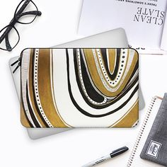 GOLD AND BLACK GEM - Macbook Sleeve by artist #Heaven7 @casetify