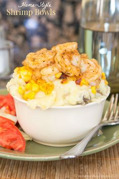 Home-Style Shrimp Bowls - quick and easy comfort food! Slightly spicy shrimp, crisp corn, and creamy mashed potatoes are a quick and easy dinner for busy evenings! You'll love this recipe from the Express Lane Cooking cookbook by Shawn Syphus of iwashyoudry.com | cupcakesandkalechips.com | gluten free