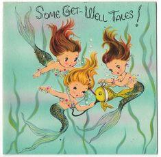 Vintage Greeting Card Mermaids Glitter Norcross Get Well UNUSED with Envelope