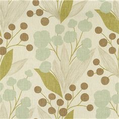 Puff Balls Spa Brown Floral Linen Drapery Fabric 8 Yard Piece