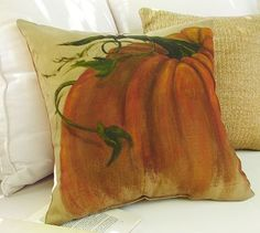 Painted Pumpkins Outdoor Pillows (pottery barn) - maybe try to DIY on pillow cover made from a drop cloth...