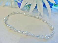 Bridal Ankle Bracelet Glass Silver Lined Czech Beads White Glass Pearls BRIDE #JKOriginals
