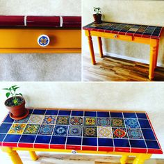 Mexican Tile Table by THEsecondchanceArt on Etsy https://www.etsy.com/listing/292721323/mexican-tile-table