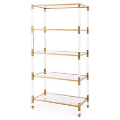 this ultramodern tagre is fashioned with an acrylic frame and golden steel accents four glass shelves offer a stylish surface for books trinkets