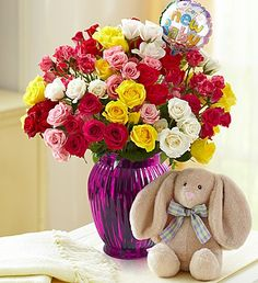 """Rainbow Bouquet for Baby, 50-100 Blooms spray roses with 4""""D Mylar New Baby balloon $34.99- $61.99 #baby #newbabygifts #flowers"""