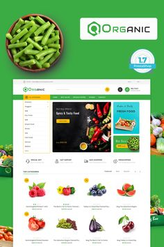 Organic Food - The Food Template is a Responsive theme and it was created in classical style, which is highly relevant for the theme. Ecommerce Website Design, Website Design Layout, Web Layout, Food Template, Templates, Food Web Design, Restaurant Themes, Snack Recipes, Cooking Recipes