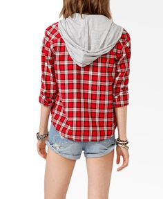 red check plaid flannie with hood