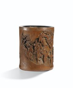A FINELY CARVED BAMBOO 'MILITARY PARADE AND LANDSCAPE' BRUSHPOT<br>QING DYNASTY, 18TH CENTURY | Lot | Sotheby's