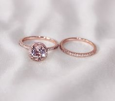 Discount!!  Two-Ring Set! Round Cut  7mm VS  Halo 14K Rose Gold Morganite Ring  SI/H Diamonds Wedding Band /Engagement Ring/ Promise Ring sur Etsy, 444,65 €