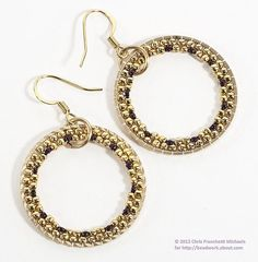 Free tutorial for making beaded hoop earrings by using brick stitch to weave beads on the inside of a metal ring.