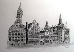 Drawing, the architecture of Ghent, Belgium
