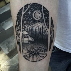 Simple black ink oval shaped tattoo stylized with night sky and camping truck
