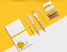 Brand identity that we've created for a casual pizzeria. To make it stand out we got rid of the typical red+yellow color scheme. You can see the result in our Behance portfolio https://www.behance.net/gallery/46777965/Pizza-Time