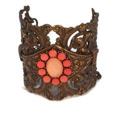 Adjustable Chocolate Brass Victorian Filigree Cuff Bracelet with Coral Rhinestone Bezel OOAK, One of a kind Orange