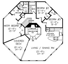 Floor Plans - 2 Story Contemporary Home with 4 Bedrooms, 3 Bathrooms and total Square Feet. counld be modified to be only 6 Bedroom House Plans, Cottage House Plans, Round House Plans, House Floor Plans, Home Design Plans, Plan Design, Casa Octagonal, Octagon House, Construction Drawings