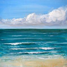 Fine Art Print de peinture à l'huile / / «Salé Blues»  Dans l'original j'ai utilisé la peinture à l'huile pour créer une texture épaisse pour les nuages et les vagues. J'ai aussi utilisé un couteau pour donner à la plage une texture sableuse, grattage peinture lumière sur la surface. J'aime la peinture à l'huile pour d'elle couleurs vives.  Formats d'impression fine art : 8 x 8 10 x 10 16 x 16 po. 20 x 20  Imprimé sur papier 100 % coton rag mat épais de base avec un poids de 300 g/m²…