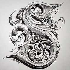 The letter S, ink and gouache on paper, by Aaron Horkey. Tattoo Lettering Fonts, Graffiti Lettering, Types Of Lettering, Calligraphy Alphabet, Calligraphy Fonts, Typography Letters, Caligraphy, Penmanship, Creative Lettering