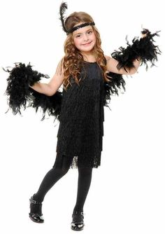 Fringe Flapper Roaring 20/'s Fancy Dress Halloween Deluxe Child Costume 3 COLORS