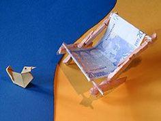 ein Geldgeschenk basteln - Liegestuhl  - deutsche Bildanleitung