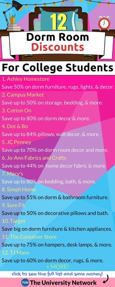 Dorm Room Decor Deals Save up to on decor for your dorm room from stores like Target, JC Penney, The Container Store, TJ Maxx and more. - 12 Dorm Room Discounts For College Students College Life Hacks, School Hacks, College Tips, College Checklist, College Board, College Packing, School Tips, School Projects, School Stuff