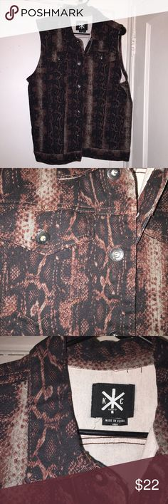 Kill City snake print denim vest by UO great condition, great quality. eye catching denim vest by kill city for urban outfitters men's. barely worn! Urban Outfitters Jackets & Coats Vests