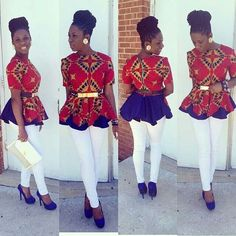 Stylish Peplum top with an african print