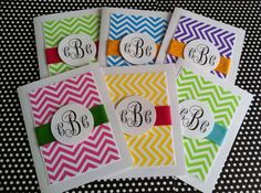 Chevron monogram cards (12 pack, includes gift bag and tissue) on Etsy, $25.00
