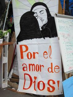 """For the love of God!"" Plaça de Catalunya, Barcelona, June 2011. Photograph: Rick Poynor. From the essay: Demonstrations, Democracy and Design"