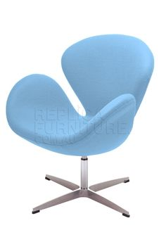 Replica Swan Chair Blue -- True to the original design, our Replica Swan Chair is constructed from a fiberglass reinforced inner shell, surrounded by plush polyurethane foam padding and covered with a wool fabric.  The base of the chair is constructed of solid cast aluminium with rubber gliders.   The Swan Chair was originally designed for the lobby and reception areas at the Royal Hotel in Copenhagen in 1958.