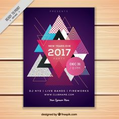 Triangles modern brochure with new year Free Vector Letterhead Template, Flyer Template, Festival Flyer, Magazine Layout Design, Presentation Folder, Cool Business Cards, Free Vector Graphics, Graphic Design Inspiration, Designs To Draw