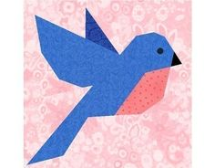 Bluebird of Happiness paper piecing quilt block pattern PDF. from Etsy Barn Quilt Patterns, Paper Piecing Patterns, Bird Patterns, Pattern Blocks, Quilting Patterns, Bird Quilt Blocks, Block Quilt, Vogel Quilt, Cat Quilt