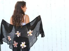 Scarf Rustic black knitting Wrap  Shawl  With Fabric by ettygeller, $72.00  #Knitting,# Accessories,  #Shawl,   #vintage  style , #fashionable, #trende, #warm, #clothing, #women  #poncho shawl, #Knitted shrug, #Sweater Knit, #Women's