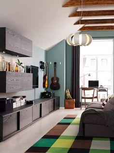 STOCKHOLM Tapete, tecelagem plana, feito à mão xadrez, xadrez verde verde