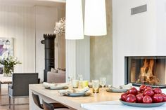 Fireplace in the kitchen