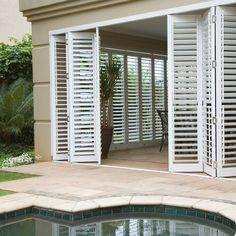 Browse of photos of beautiful South African Pool spaces to find the styles and layouts that suit you. Add your favourite photos and products to your designbooks to begin the process of designing your new Pool space. Balcony Grill Design, Window Grill Design, Outdoor Shutters, House Shutters, Model House Plan, Home Design Plans, Sliding Glass Door, Planer, Pergola Kits