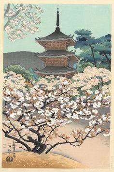 Benji ASADA (1899-1984) - Les cerisiers d'Omuro à Kyoto
